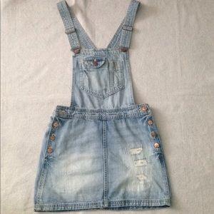Denim Overall Suspender Skirt